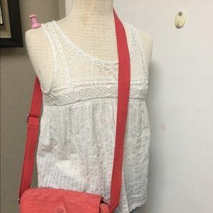 Kipling Coral Orange Nylon Crossbody Bag Purse